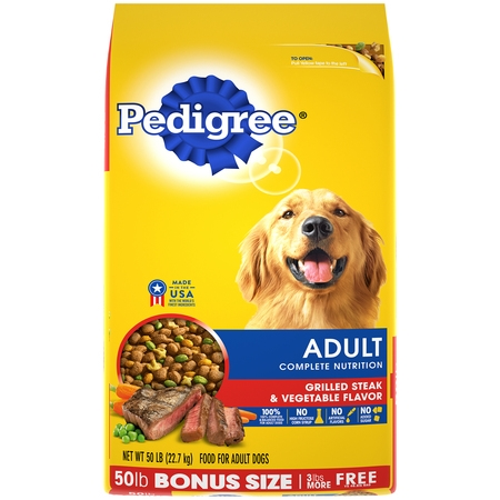 PEDIGREE Complete Nutrition Adult Dry Dog Food Grilled Steak & Vegetable Flavor, 50 lb. (Best Dog Food To Prevent Urinary Tract Infections)