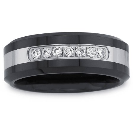 Men's 0.15 Carat T.W. Diamond Black Ceramic and Stainless Steel Wedding Band (H-I I2 I3)