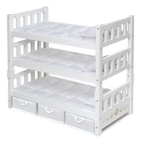"""Badger Basket 1-2-3 Convertible Doll Bunk Bed with Bedding and Storage Baskets - White Rose - Fits American Girl, My Life As & Most 18"""" Dolls"""