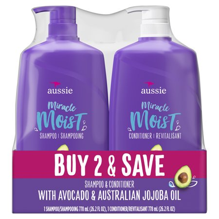 For Dry Hair - Aussie Paraben-Free Miracle Moist Shampoo and Conditioner Bundle (Best Shampoo And Conditioner For Womens Hair)