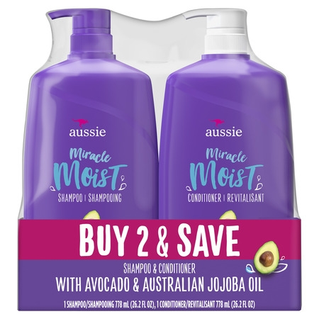 For Dry Hair - Aussie Paraben-Free Miracle Moist Shampoo and Conditioner Bundle