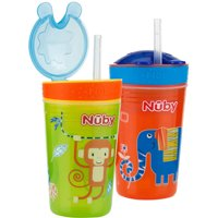 Nuby Snack N Sip Straw Sippy Cup Combo - 2 pack