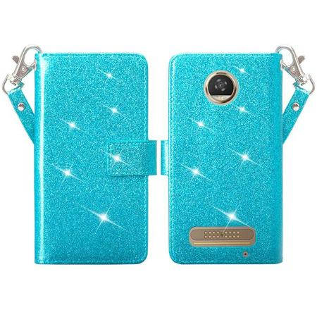 Moto Z2 Play Case, Motorola Moto Z2 Play Case Glitter Faux Leather Flip Credit Card Holder Wrist Strap Protective Purse Wallet Case Clutch for Moto Z2 Play Case - Teal