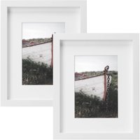 """Better Homes & Gardens Gallery 8"""" x 10"""" (20.32 cm x 25.4 cm) Matted to 5"""" x 7"""" (12.7 cm x 17.78 cm) Picture Frame, White, Set of 2"""
