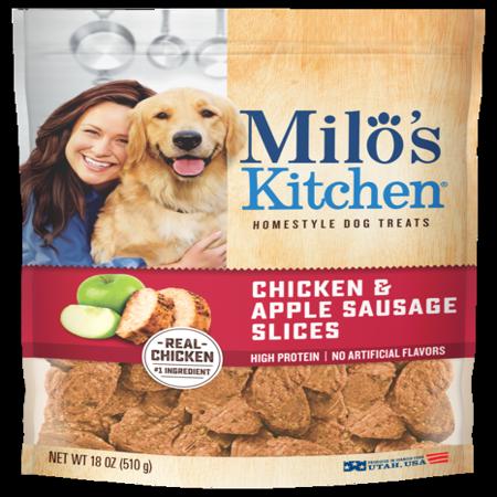 Apple Brie Chicken - Milo's Kitchen Chicken & Apple Sausage Slices Dog Treats, 18-Ounce