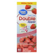 (2 pack) Great Value Double Zipper Bags, Mega Pack, Gallon, 80 Count