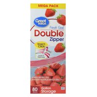 (2 pack) Great Value Double Zipper Storage Bags, Mega Pack, 80 Count