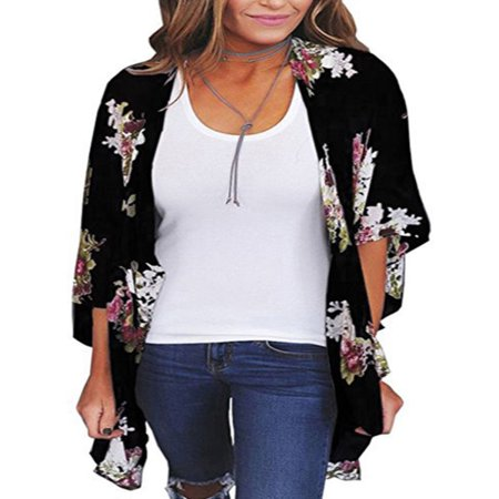 Women Floral Loose Kimono Cardigan Boho Sun Block Coat Jacket Blouse Thin Top - White Floral Blazer