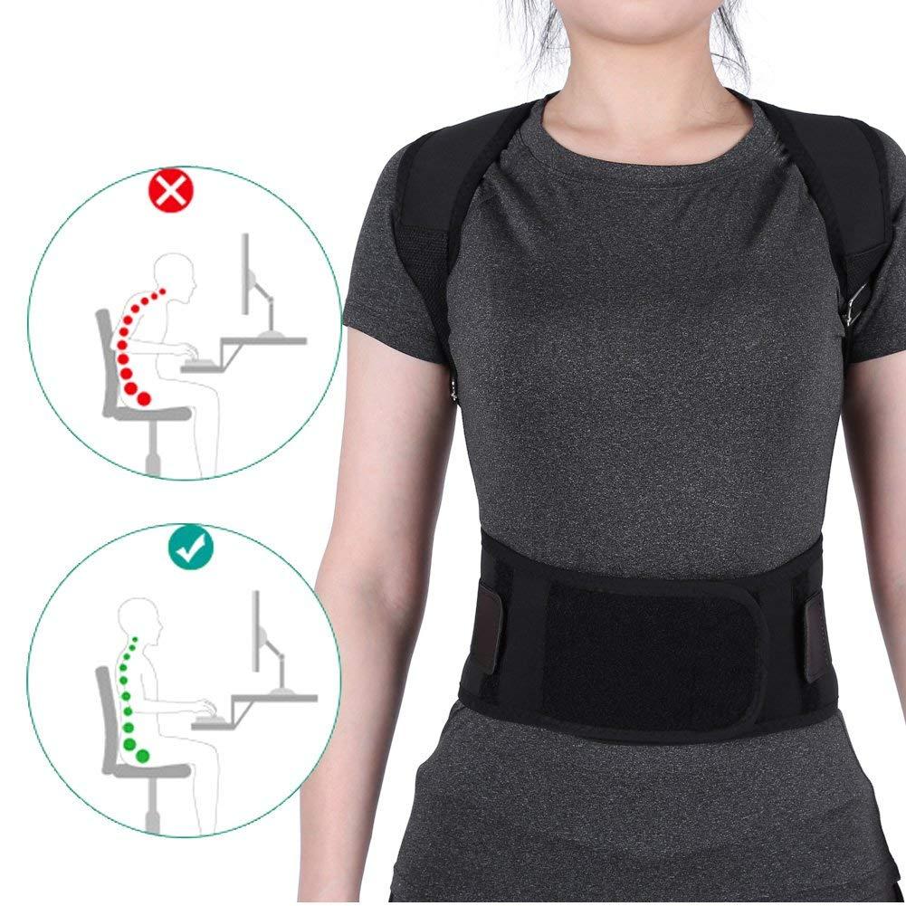 EECOO Men Women Elastic Adjustable Shoulder Brace Waist Belt Back Support Posture Corrector,Back Belts