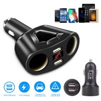 120W Dual USB Ports 3.1A Fast Charging w/ 2 Socket Cigarette Lighter Splitter Car Power Adapter, Two USB Ports Car Charger for Smart Phones Tablet GPS Devices