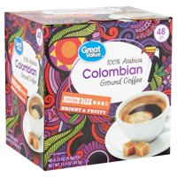 Great Value 100% Arabica Colombian Ground Coffee, 15.9 oz, 48 Count