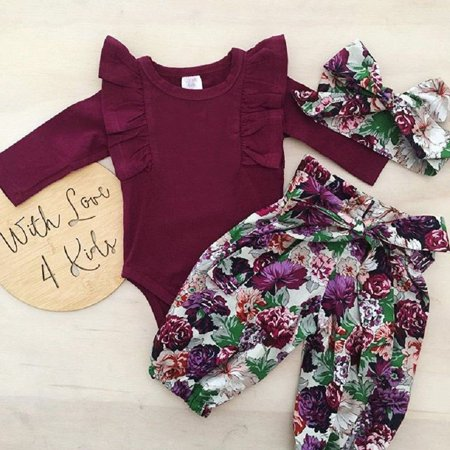 emmababy cute newborn baby girls cotton tops romper floral pants