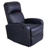 Costway Manual Recliner Chair Black Lounger Leather Sofa Seat Home Theater