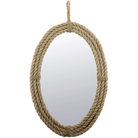 Rope Oval Mirror with Loop Hanger (Maple Oval Mirror)