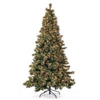 Belham Living 7.5ft Pre-Lit Gold Dusted Artificial Christmas Tree with Clear Lights- Green