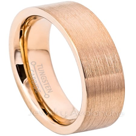 6mm Pipe Cut Rose Gold Plated Tungsten Ring - Brushed Comfort Fit Tungsten Carbide Wedding Band Cut Brushed Wedding Ring
