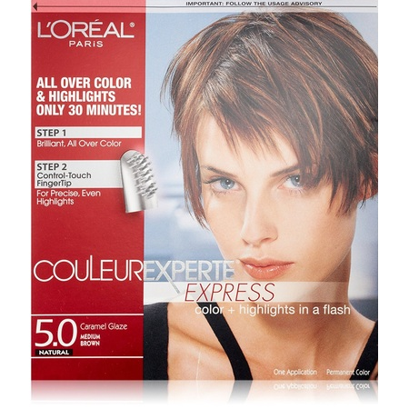 L'Oreal Paris Couleur Experte Express Hair Color + Highlights, Permanent 5.0 Natural Caramel Glaze Medium Brown + Eyebrow