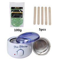 Waxing Kit, Yosoo Hair Removal Hot Paraffin Pearl Wax Warmer Heater Pot Machine+100g Hard Wax Beans+5 Wax Applicator Sticks