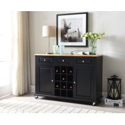 Rowan Black Wood Traditional Wine Rack Sideboard Buffet Display Console Table With 3 Storage Drawers, 2 Cabinet Doors