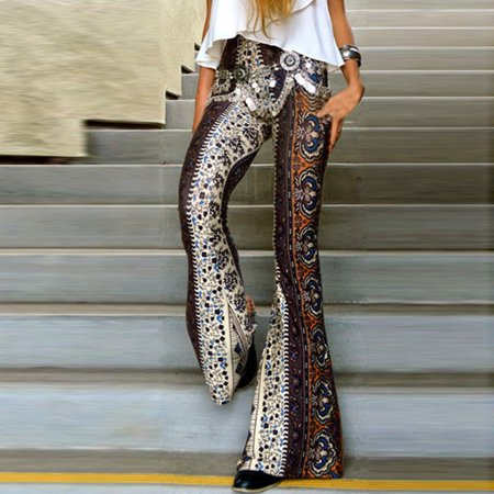 New Women ladies Floral print Hippie boho long pants High Waisted skinny slim Long Flared Bell Bottom long Pants Trousers Gray (Navy Bell Bottom Pants)