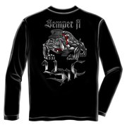 36414fff Semper Fi USMC Bulldog Long Sleeve T-shirt by , Black