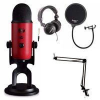 Blue Microphones Yeti Red USB Mic with Knox Boom Arm, Headphones and Pop Filter