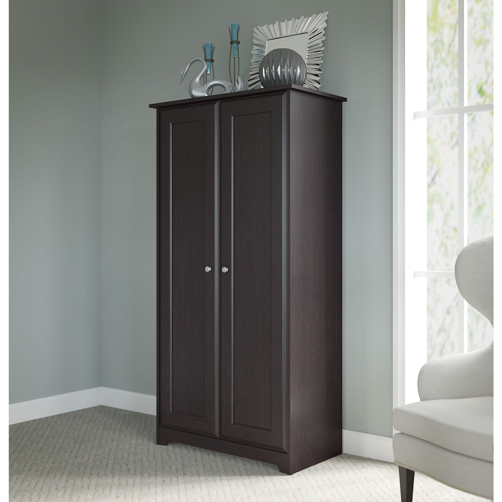 Contemporary Cabinet With Shelves And Doors Set