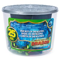 DreamWorks Dragons, Bucket of Dragons, 25 Dragon and Viking Figures in Storage Bucket, for Kids Aged 4 and Up