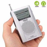 Mini Portable Pocket Digital AM/FM Radio Music Player with LED light Telescopic Antenna World Receiver W/ Speaker Earphone Headphone Jack Fine Tuning Battery Powered