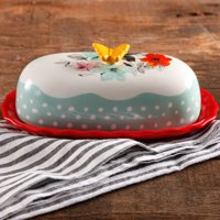 "The Pioneer Woman Flea Market Decorated Floral 6.4"" Butter Dish"