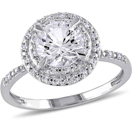 1-5/8 Carat T.G.W. Created White Sapphire and 1/10 T.W. Diamond 10kt White Gold Halo Ring - Faux Diamond Rings