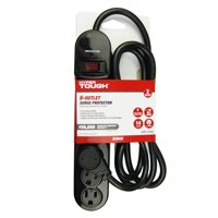 Hyper Tough 6 Outlet 6ft Surge With Glossy Black