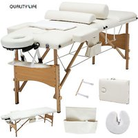 Uenjoy  3 Fold Portable Facial SPA Bed Massage Table With Carrying Case Sheet+2 Bolster+Cradle+Hanger,White