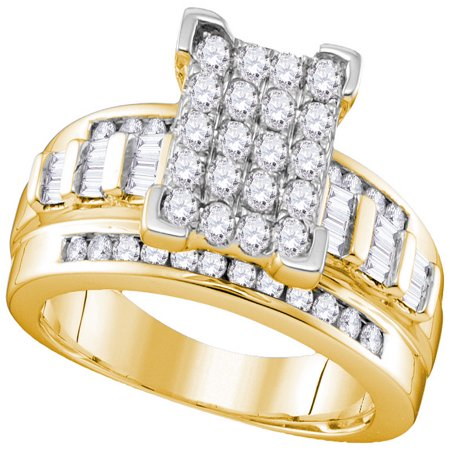 10kt Yellow Gold Womens Round Diamond Cinderella Cluster Bridal Wedding Engagement Ring 1.00 Ctw - Cinderella Bridals