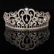 Crystal Wedding Tiara Crown Prom Pageant Princess Crowns Bridal Veil  Headband 43fe91f5e285
