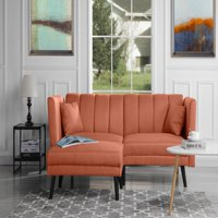 Divano Roma Furniture Mid-Century Modern Linen Fabric Futon Sofa Bed, Living Room Sleeper Couch (Orange)