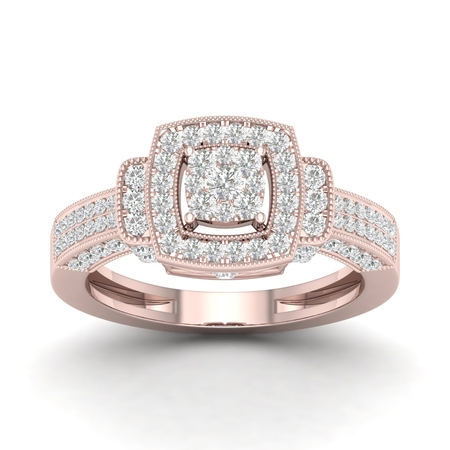 3/4Ct TDW Diamond 10K Rose Gold Double Square Engagement Ring
