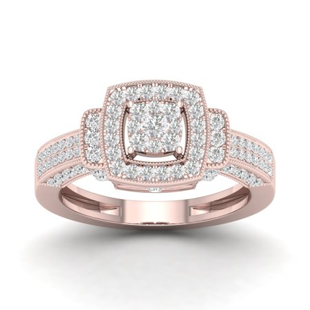 3/4Ct TDW Diamond 10K Rose Gold Double Square Engagement (Double Rose Rings)
