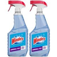 Windex Ammonia-Free Glass Cleaner Trigger Bottle, Crystal Rain, 23 fl oz (2 ct)