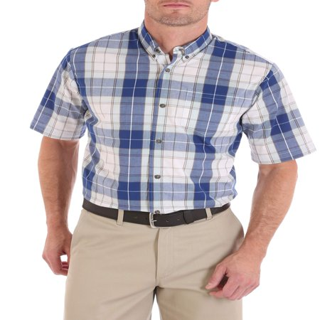 Mens Short Sleeve Plaid Shirt (Men's Advanced Comfort Short Sleeve Casual Button Down)