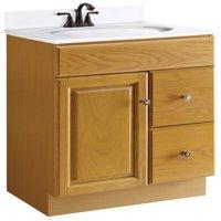"""Design House 545137 Claremont Unassembled 1-Door 2-Drawer Vanity without Top, 24"""", Honey Oak"""