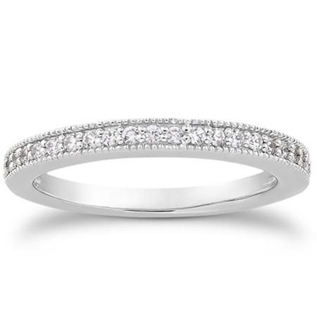 14k White Gold Pave Diamond Milgrain Wedding Ring Size 4 Band Set 1/2 Around (Diamond Ring Set Size 4)