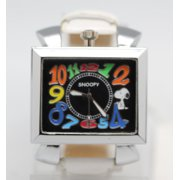 9eb9ec3c803a Snoopy Large Square Dial Distorted Colored Numeral Face White Band Watch  (40mm)