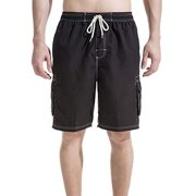 76cae9b907 LELINTA Mens Swim Trunks Beach Board Shorts with Cargo Pockets,Blue/ Black/  Grey
