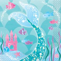 Mermaid Paper Beverage Napkins, 5in, 16ct