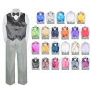 969278972 4PC Shirt Gray Pants Vest & Bow tie Set Baby Boy Toddler Kid Formal Suit Sm