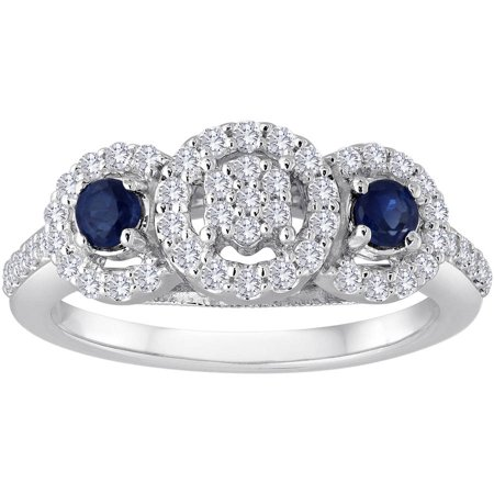 1/2 Carat T.W. Diamond Cluster and Blue Sapphire Sterling Silver Engagement Ring (Sapphire Cluster)