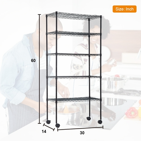 - BestOffice 5-Shelf Steel Wire Tier Layer Shelving 72