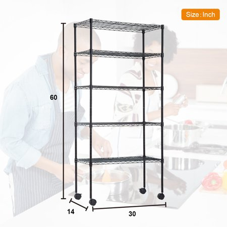 "14""D x 30""W x 60""H 5-Tier Wire Shelving Unit NSF Certification Storage Organizer Height Adjustable Commercial Grade Heavy Duty Utility Metal Rack for Garage Office kitchen on Wheels,Black ()"