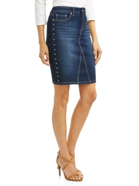 Margarita Studded Side Stretch Denim Pencil Skirt Women's